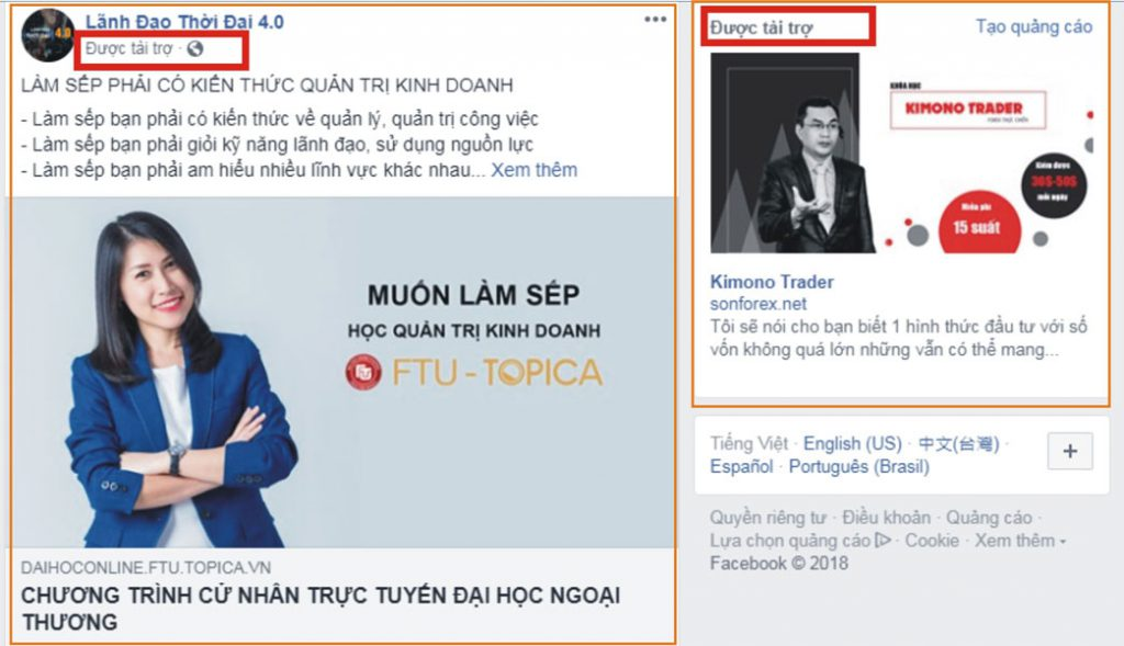 Hiển thị của quảng cáo facebook - Tinh Tế Ads