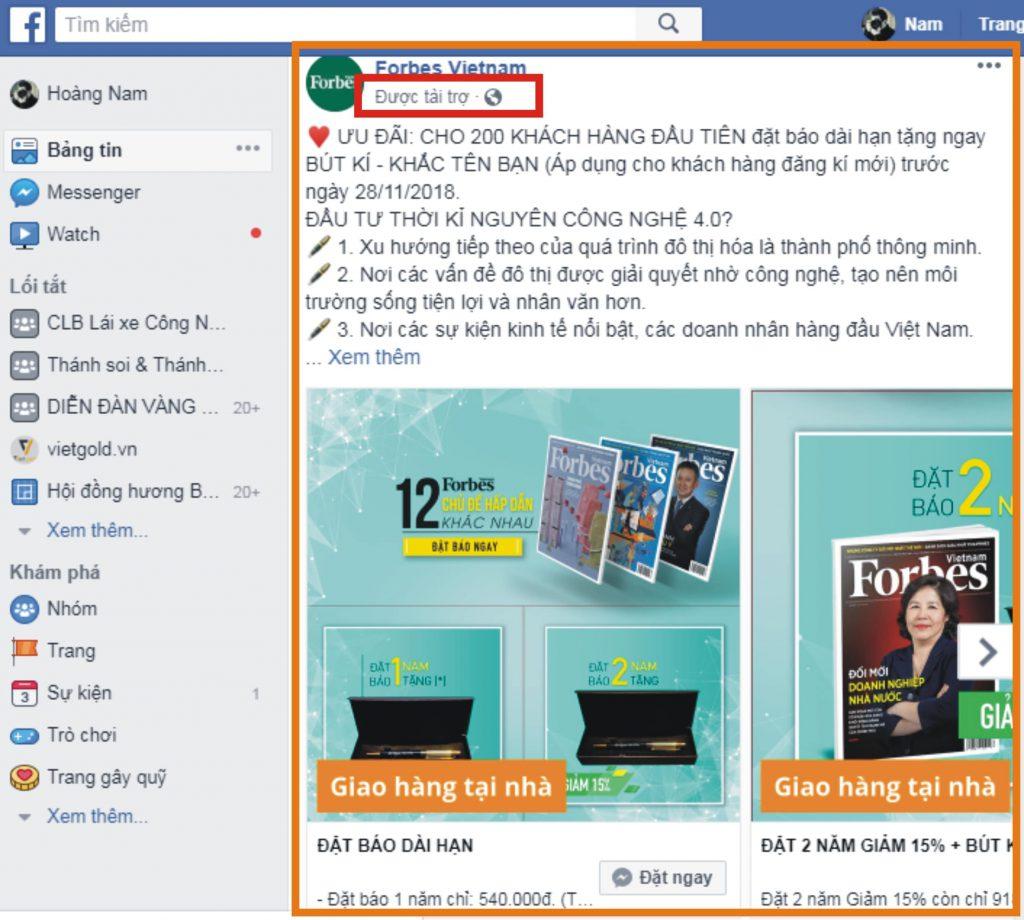 Vị trí quảng cáo facebook